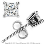 14k White Gold Prong Princess .35 Carat Diamond Stud Earrings