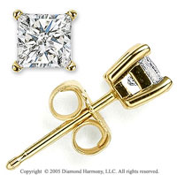 14k Yellow Gold Prong Princess .35 Carat Diamond Stud Earrings