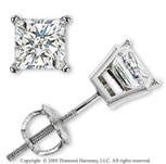 14k White Gold Prong Princess .75 Carat Diamond Stud Earrings