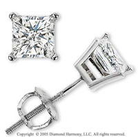 14k White Gold Prong Princess 1.00 Carat Diamond Stud Earrings