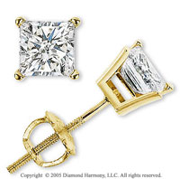 14k Yellow Gold Prong Princess 1.00 Carat Diamond Stud Earrings
