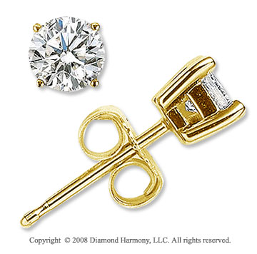 14k Yellow Gold Prong Round 1 Carat Diamond Stud Earrings