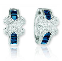 14k White Gold Blue Sapphire .35 Carat Diamond Huggie Earrings