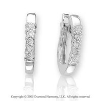 1/3 Carat Diamond 14k White Gold Huggie Earrings