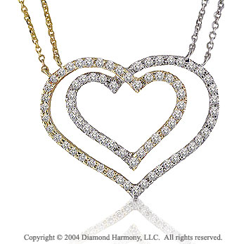 0.85 Carat 14k Diamond Double Heart Two Tone Necklace