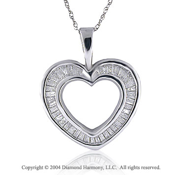 Diamond Brilliance Baguette Channel 14k Heart Necklace