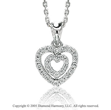 14k Diamond Pave White Gold Double Open Heart Pendant Necklace