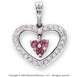 Diamond and Ruby 14k White Gold Heart