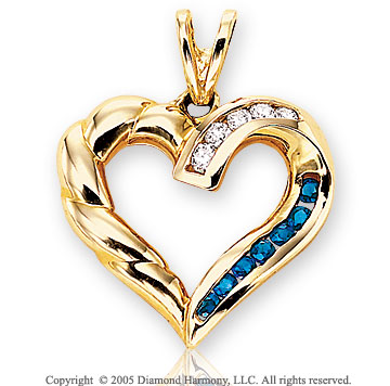 Diamond & Blue Sapphire 14k Yellow Gold Heart