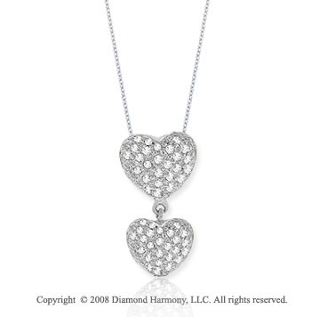 14k White Gold 0.40 Carat Double Puff Diamond Heart Pendant