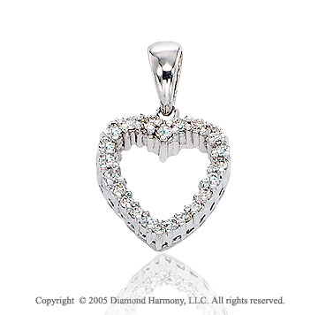 14k Diamond White Gold Classic Open Heart Pendant