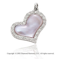 14k Diamond Pave Pink Mother of Pearl Swivel Heart Pendant