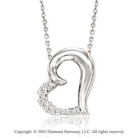 14k Diamond White Gold Slide Heart Pendant Necklace