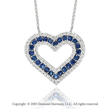 1.25  Carat Diamond Blue Sapphire Heart Pendant Necklace