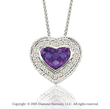 1.70  Carat Diamond Amethyst Heart Solitaire Milgrain Pave Pendant Necklace