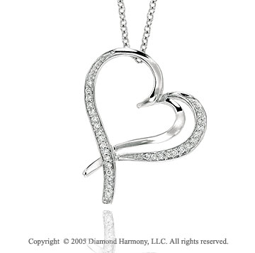 14k Diamond White Gold Double Swirl Heart Pendant Necklace