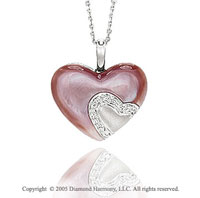 14k Diamond Pave Pink Mother of Pearl Heart Pendant Necklace