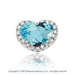2.15  Carat Diamond Blue Topaz Solitaire Heart Pendant