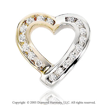 1/3 Carat Diamond 14k Two Tone Gold Heart