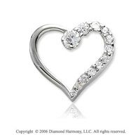 14k White Gold 1.00  Carat Diamond Journey Heart Pendant