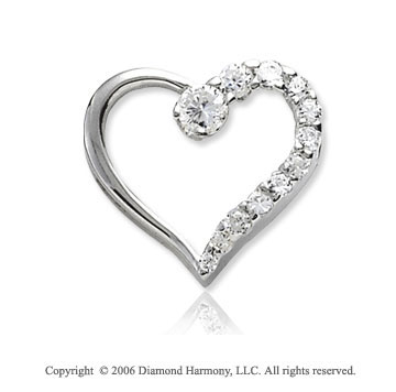 14k White Gold .50  Carat Diamond Journey Heart Pendant
