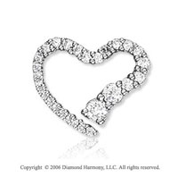 14k White Gold 4/5 Carat Diamond Journey Heart Pendant
