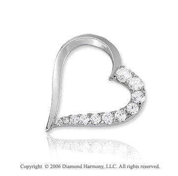 14k White Gold Half 1.00  Carat Diamond Journey Heart Pendant