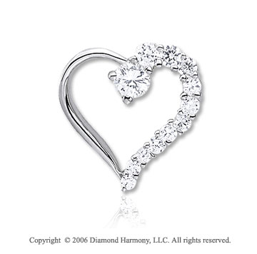 14k White Gold Center � Carat Diamond Journey Heart Pendant