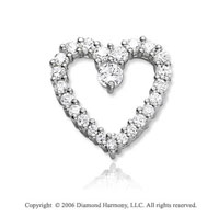 14k White Gold Full .50  Carat Diamond Journey Heart Pendant