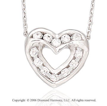14k White Gold Two Channel 1/3 Carat Diamond Heart Necklace