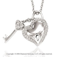 14k White Gold Lock & Key 1/4 Carat Diamond Heart Pendant
