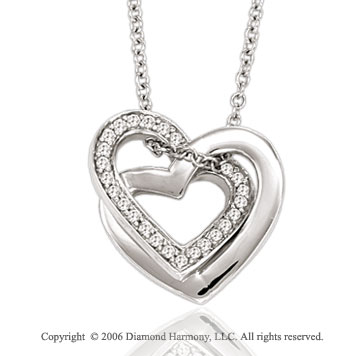 14k White Gold Couple 1/4 Carat Diamond Heart Necklace