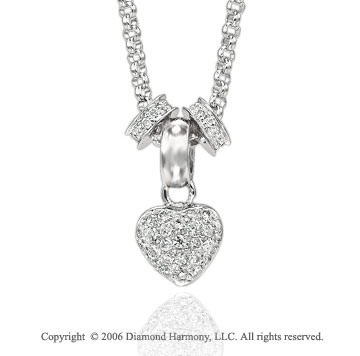 14k White Gold Two Ring 1/4  Carat Diamond Heart Necklace