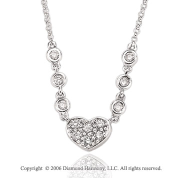 14k White Gold Bezel Prong 1/3 Carat Diamond Heart Necklace