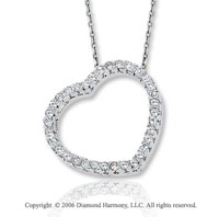 14k White Gold Prong 1/4 Carat Diamond Heart Necklace