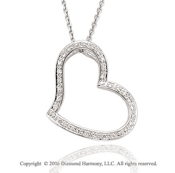 14k White Gold Squeeze 1/5 Carat Diamond Heart Pendant