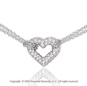 14k White Gold Captive Love 2/3 Carat Diamond Heart Pendant