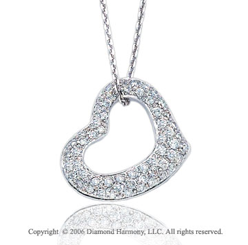14k White Gold Tickle 1/2 Carat Diamond Heart Pendant