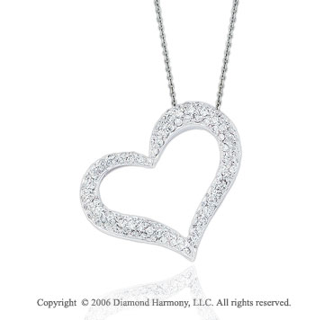 14k White Gold Perky Prong 1  Carat Diamond Heart Necklace