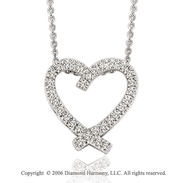 14k White Gold Tailed 1/6 Carat Diamond Heart Pendant