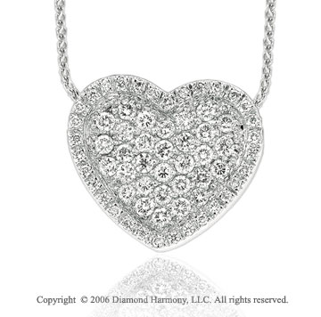 14k White Gold Prong Wonderland 4/5  Carat Diamond Heart Necklace