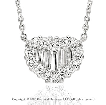14k White Gold Baguette Prong 1/2 Carat Diamond Heart Necklace
