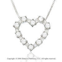 14k White Gold Bulbs 1/4  Carat Diamond Heart Necklace