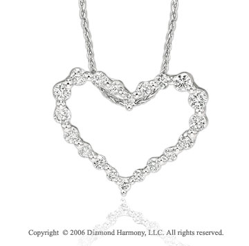 14k White Gold Pea Pod .55  Carat Diamond Heart Pendant