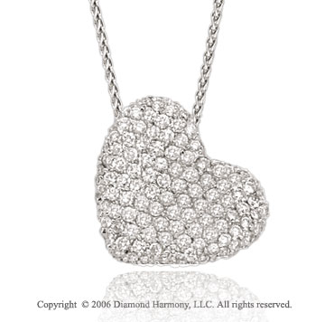 14k White Gold Prong 1.60  Carat Diamond Heart Necklace