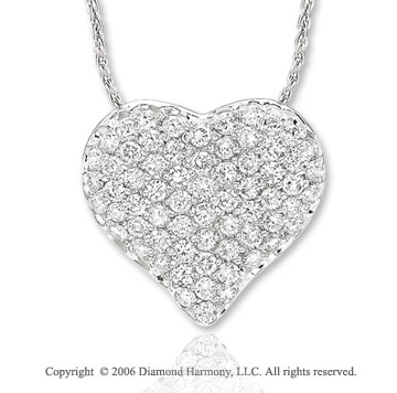 14k White Gold Prong 1.00 Carat Diamond Heart Necklace