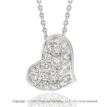 14k White Gold Pave 2/5 Carat Diamond Heart Necklace