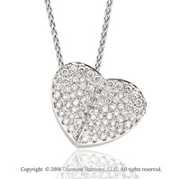 14k White Gold Pebble 2/3 Carat Diamond Heart Necklace