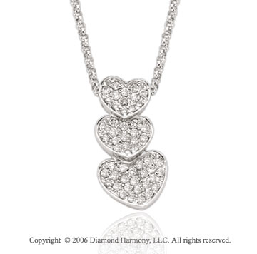 14k White Gold 2/3 Carat Diamond Triple Heart Necklace