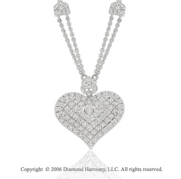14k White Gold Center Bezel 1/2  Carat Diamond Heart Necklace